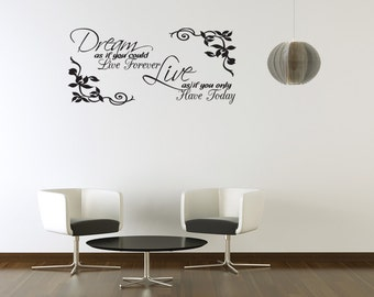Dream As If You Could Live Forever Vinyl Wall Decal Quotes Home Sticker Decor (J209)