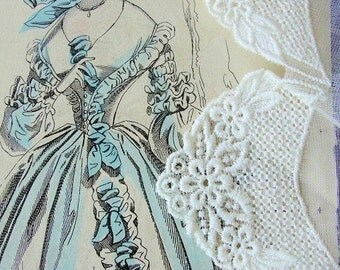 Vintage Cotton Organdy Dainty Trim Pretty Delicate Lace For Hanky Corners Great For Baby Bonnets Dolls Pillows Vintage Clothing