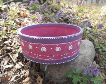 Vintage Swedish round basket Handpainted  storage basket Purple floral basket Farmhouse decor
