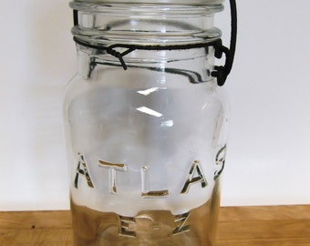 Antique Atlas E-Z Seal Quart Canning Jar with Lid