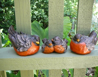 Robin Family - 3 Cement/Concrete Bird Figurines/Garden Statues - Spring Decor