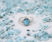 Larimar Amber Ring, Double Sided Ring, Woman Reversible Ring, See Available Sizes, Larimar Ring, Amber Jewelry