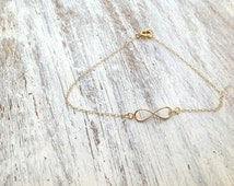 Gold anklet, infinity anklet, simple, infinity jewelry, beach anklet, gold infinity, gold filled -520