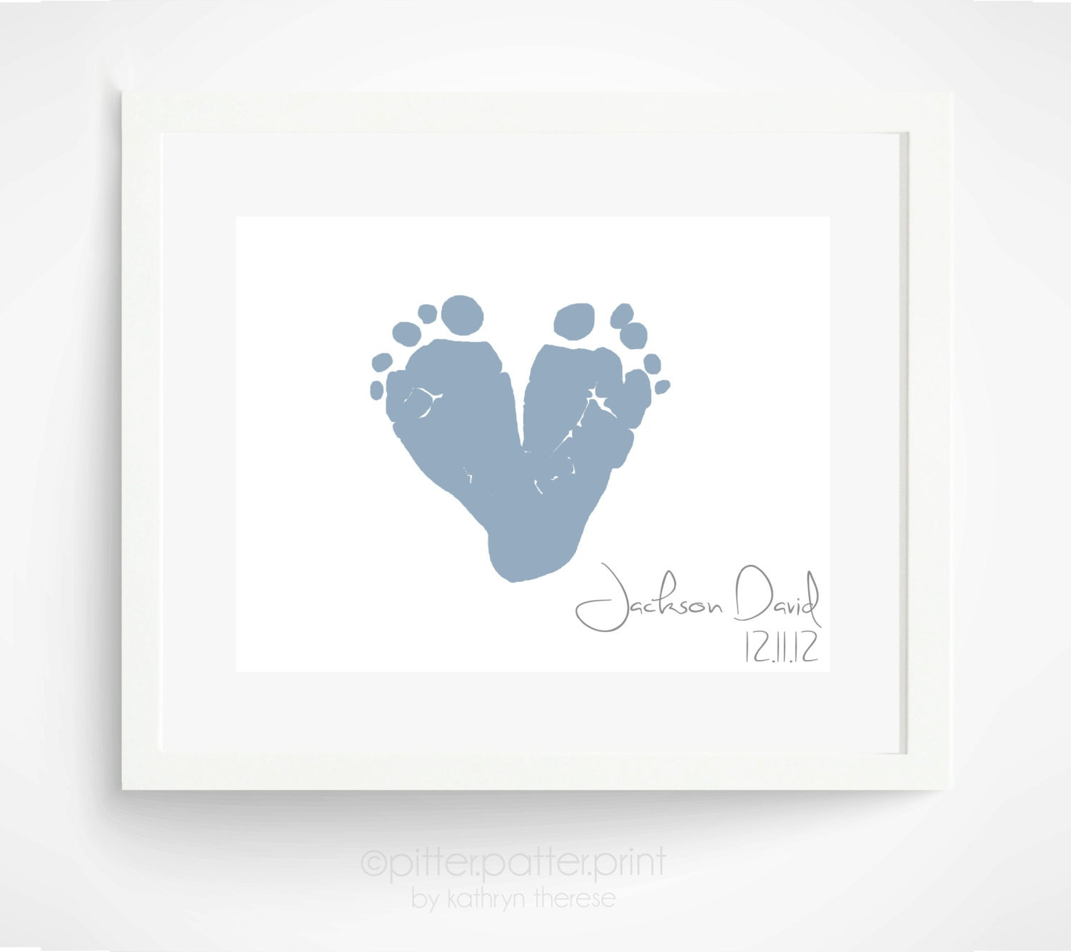 Baby S First Valentine S Day Quotes: Baby Footprint Art Personalized Heart Baby's By