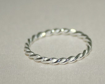 Sterling Silver Braid Ring Size 6.5