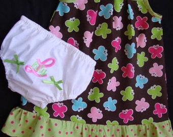Infant Girls Butterfly Sun Dress and Personalized Diaper Cover / Bloomers- Limited Quanity