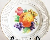 Decorative Porcelain Dinner Plate, Hand Painted Fruit, White Reticulated Lace Edge with Gold Trim