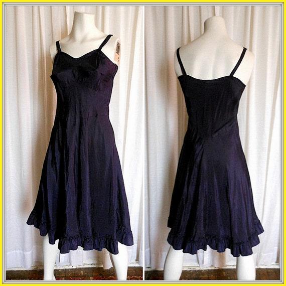 RESERVED Kathy B vintage 1940s ValMode Acetate full slip dress Navy Blue petticoat chemise glamour sexy bombshell SZ 34