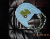 Crochet Boys or Girls Earflap Style Tractor Hat with Braided Ties Customizable to your favorite colors!