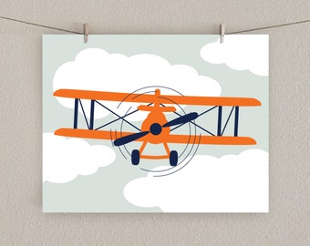 Airplane Decor - Boy Nursery Art Print -  Orange & Navy blue