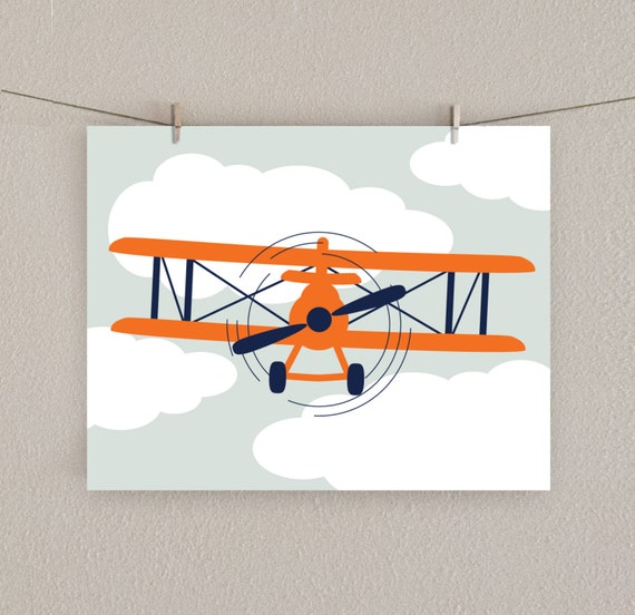 Airplane decor boy nursery art print orange navy blue for Airplane decoration