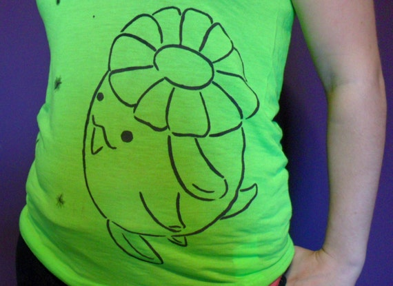 Neon Green Unisex Pokemon Tank Top, Pokemon Shirt, Kawaii Clothing,OOAK, Skiploom, Pokemon Geekery, Pocket Monster, Pokemon T-Shirt,