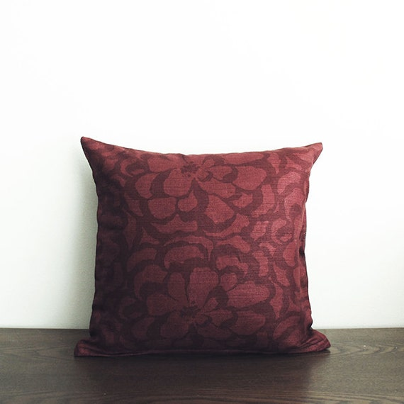 16x16 Burgundy Floral Throw Pillow Cover By Wildcanaryshop