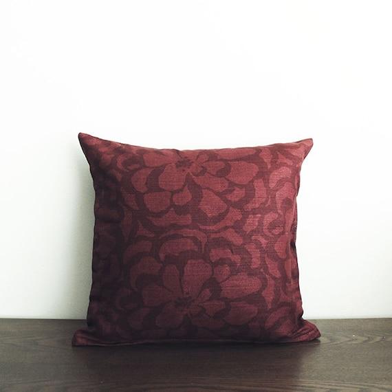Burgundy Floral Throw Pillows : 16x16 Burgundy Floral Throw Pillow Cover