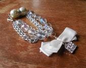 Ribbon Charm Clear Beaded Multi-Strand Bracelet