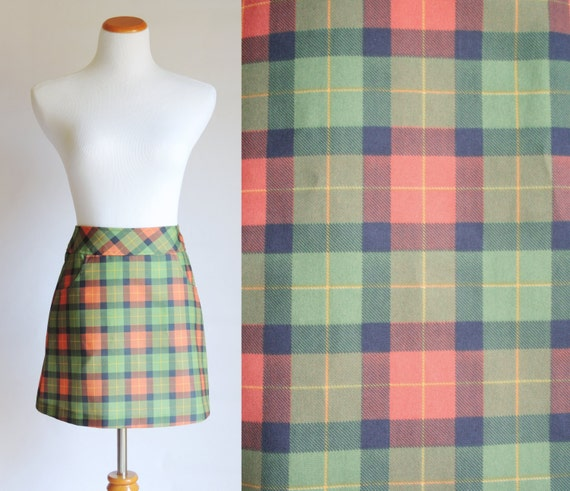 50% OFF Vintage Mini Skirt - S/M - Plaid in Green and Orange