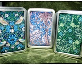 Set of Three (3) Handmade Flora Botanica Altoid-like Storage Tins / Trinket Boxes