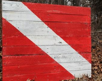 "Nautical Decor Diver Down Scuba Flag Coastal Decoration 37"" x 29"""