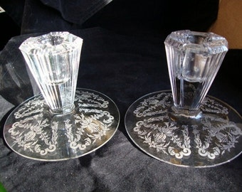 Glass Etched Candle Holders  REDUCED