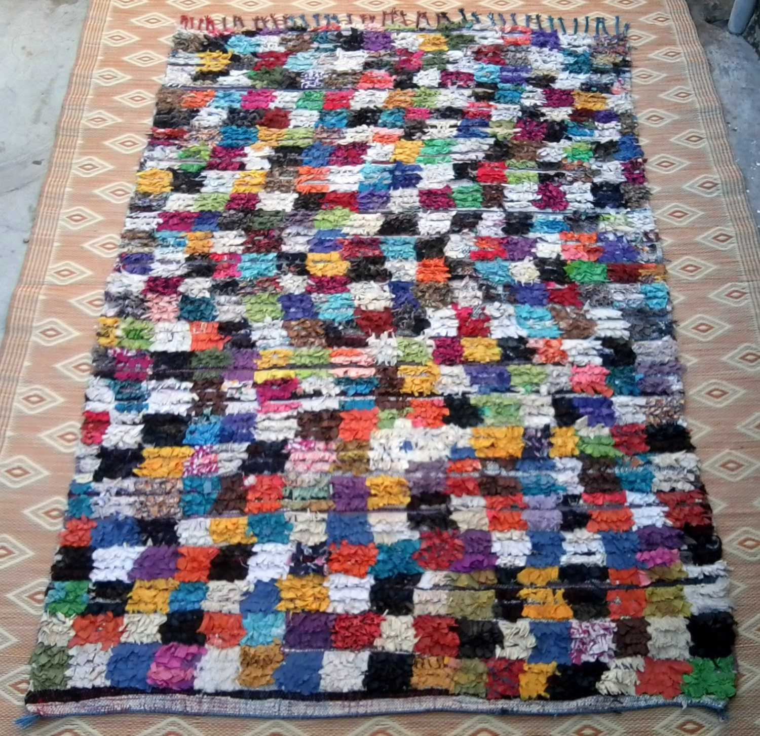 Large Vintage Moroccan Rug Woven By Hand From Scraps Of Fabric
