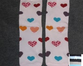 PINK WITH HEARTS baby leg warmers.  Great for babies, toddlers, and young kids