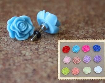 Whimsical flower plugs for gauged ears: 14g (1.6mm),12g (2mm),10g (2.4mm),8g (3mm),6g (4mm), 4g (5mm),2g (6mm),0g (8mm)
