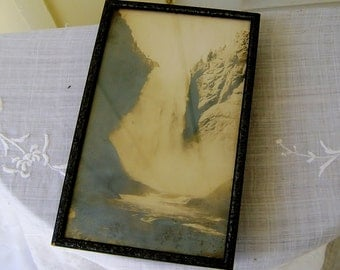 Antique Haynes Yellowstone Park Print  Great Falls from Below