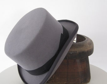 Wool Felt Ascot Light gray Top Hat, Wedding Hat