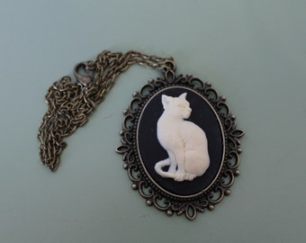 White Cat Cameo Necklace on Antique Bronze Setting