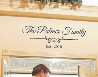 Family Name Wall Decal - Established Year- Personalized Lettering -  Home Decor - Custom Vinyl Decal - Wedding Gift