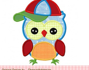Baseball owl sports owl Machine Embroidery Applique Design - 4x4 5x5 6x6""