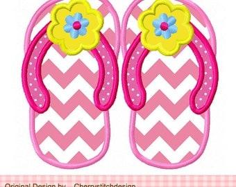 """Flip flops with flower Summer Machine Embroidery Applique Design -4x4 5x5 6x6"""""""