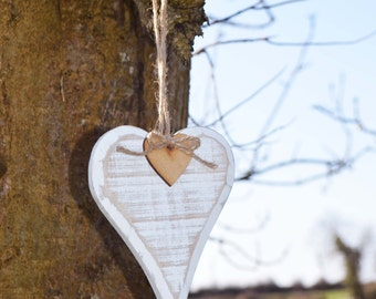 Rustic White-Washed Wooden Hanging Heart with detail