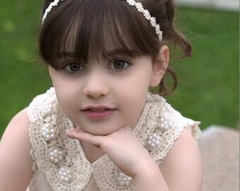 Petite Ivory Daisy Chain Headband, Flower Girl Headband, Photo Prop, Babies, Girls, Teens, Adults