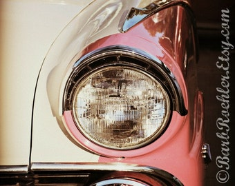 Pink & White Vintage Car - Rustic Wall Art - Classic Car Art Prints - Retro Print - Vintage Car Photography - Garage Art - 8x10