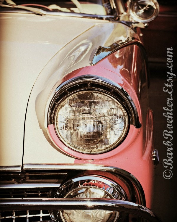Vintage Auto Wall Decor : Pink white vintage car rustic wall art classic