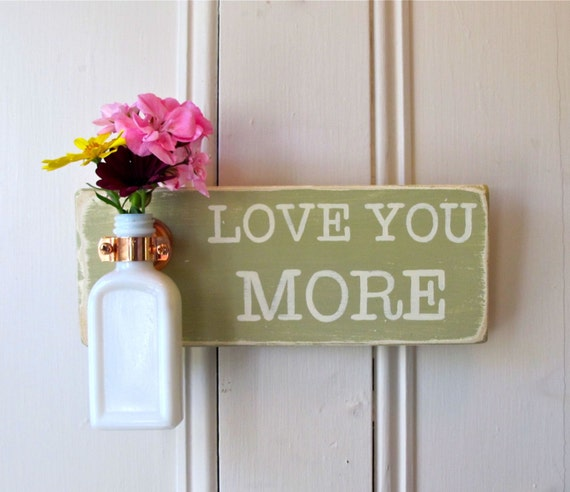 Wall Flower Vase, Love You More, Antique Bottle, Versailles, Copper Hanger, Home Decor, Cottage, Hand painted
