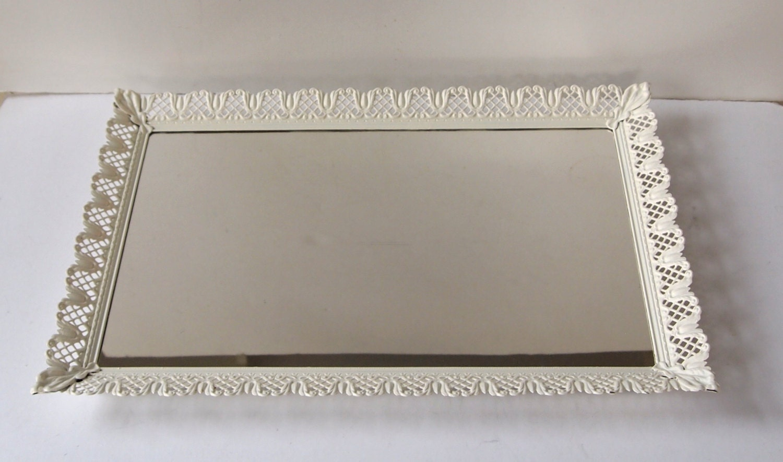 Large Filigree Vanity Mirror Dresser Tray Painted Cottage