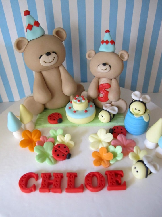 Teddy Bear Picnic Theme Fondant Cake Topper Handmade Edible