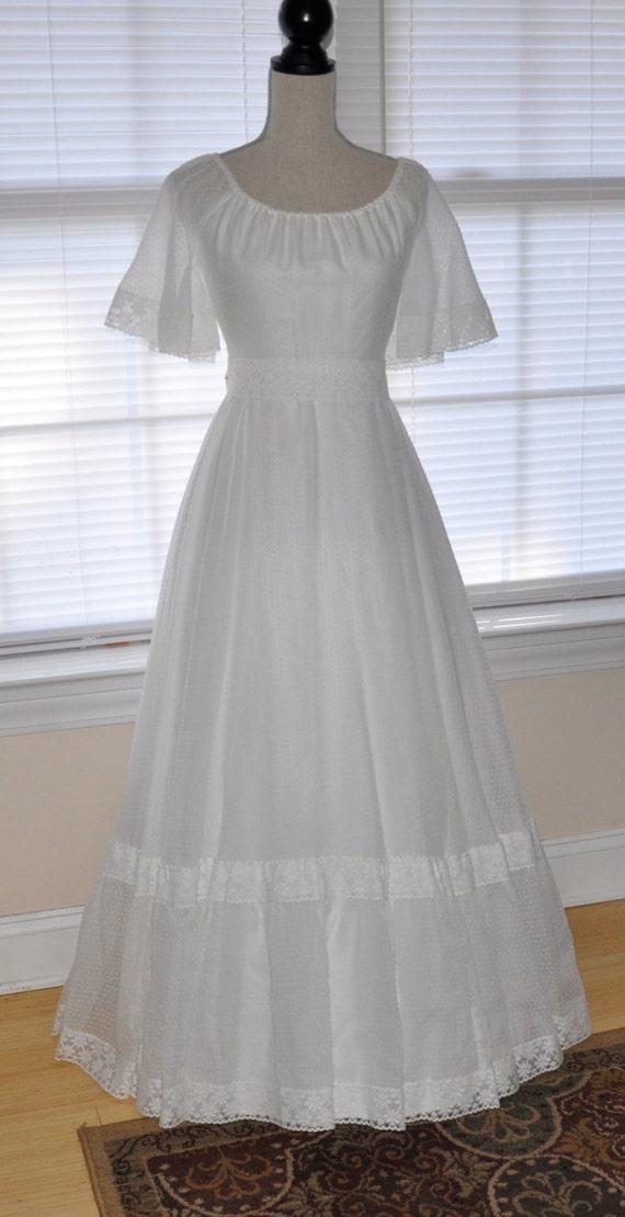 Sale 70s bohemian hippie wedding dress prairie mod folk for Mexican wedding dresses for sale