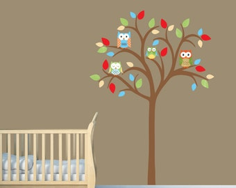 Owl tree decal, Owl tree wall sticker, Owl Nursery Art, owl wall decal, nursery owl decor, Darren Design