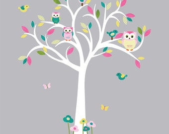 White Tree Wall Decal, Owl Tree Wall Decal, Owl wall sticker, Nursery Owl wall decor, Zoe Design