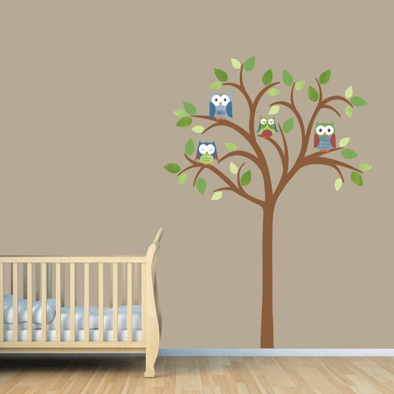 owl tree decal owl tree wall sticker owl nursery art owl wall decal