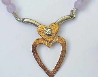 heart necklace rose gold and silver, purple Agate, handmade, Made in Israel by Hedva Elany
