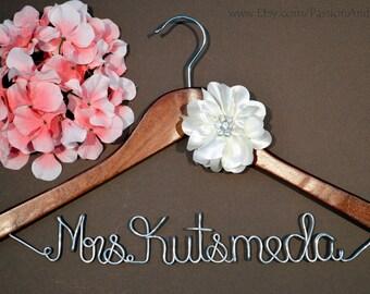 WEEKEND SALE. Personalized Bridal Wedding Hanger. Bridal Party. Custom Hanger. Comes With Rhinestone Silk Flower.