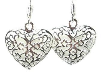 Latticework Heart Silver-plated Earrings