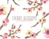 Cherry Blossom Clip Art Pack // Watercolor // Cherry Blossom // Website Design // DIY Invitations // Commercial Use