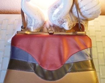 Mod Handbag Metallic Pink Blue Green Purse