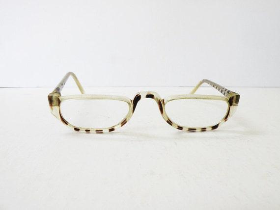 Clear Geeky Scientist Half Frame Vintage Eyeglasses // 50s
