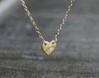 Hammered Heart Necklace / Gold Heart Pendant on Gold Filled Chain ... Mother's Day Best Friends Graduation Love You Necklace